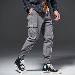 Flattering Clothes For Plus Size Australia - Grey Cargo Pants Men 9938 Multi Pockets Trousers Men Comfortable Cotton Blend Outdoor Casual Pants Streetwear Clothes For Men Plus Size