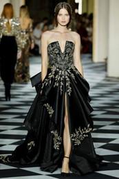 Zuhair Murad Prom Dresses Line Train Australia - Zuhair Murad A Line Black Prom Dresses Strapless Neck Sequined Front Split Evening Gowns Plus Size Sweep Train Appliqued Satin Formal Dress