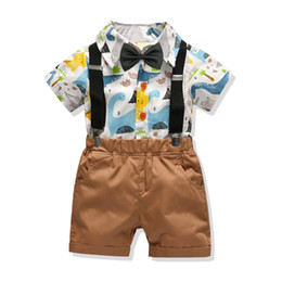 kids cartoon shorts UK - Kids Clothes summer cotton cartoon printing bow tie short-sleeved shirt Boys Sets T Shirt + strap shorts three-piece Infant Toddler 0-24Y