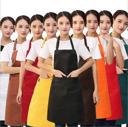 Discount chefs aprons for men - Cooking Kitchen Apron For Woman Men Pure Color Chef Waiter Cafe Shop BBQ Hairdresser Aprons Kitchen Accessories with Poc