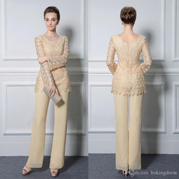 $enCountryForm.capitalKeyWord Australia - 2019 Light Yellow Lace Pants Suits For Mother Of The Bride Cheap Formal Groom Dresses Jewel Neckline Chiffon Wedding Mothers Guest Dress