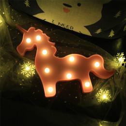 $enCountryForm.capitalKeyWord Australia - Cute Flamingo unicorn Head Led Night Light Animal Marquee Lamps On Wall For Children Party Bedroom Christmas Decor Kids Gifts