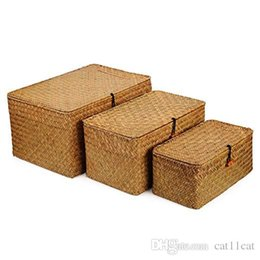 wholesale baskets lids NZ - Rectangular Handwoven Seagrass Storage Basket with Lid and Home Organizer Bins, Set of 3 (Set of 3 (S+M+L)