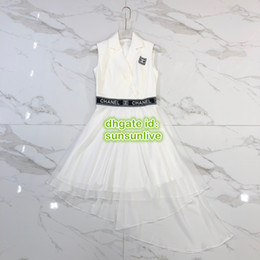 $enCountryForm.capitalKeyWord NZ - Women A-Line Vintage Letter Shirt Dress Mesh Lapel Neck Dress The High Custom Brand A-Line Runway Knee-Length Brief Skirt Pattern Dress