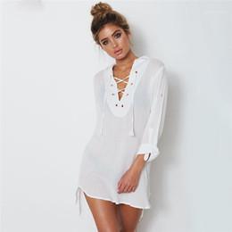 Wholesale criss cross asymmetrical for sale – plus size Criss Cross Shirt Dresses Fashion Natural Color Long Sleeve Dresses Sexy V Neck Asymmetrical Shirt Dresses Women Designer Chest