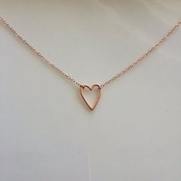Heart Shaped Chains For Couples Australia - 30 New Tiny Line simple lovers Hollow Heart shaped pendant Necklaces Simple Wire Wrapped Love Heart Necklaces for Lovers Couples jewelry