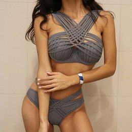 $enCountryForm.capitalKeyWord Australia - Sexy Slim Women Split Swimsuit with Steel Support Material Nylon Size M L XL Color Grey Black Strip Steel Strap with Chest Pad