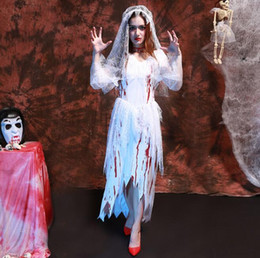 Wholesale sexy devil costumes women for sale – halloween Exotic Women Halloween Ghost Bride Cosplay Costume White Bloodstain Rags Lace Gauze Dress Sexy Blood Zombies Devil Masquerade