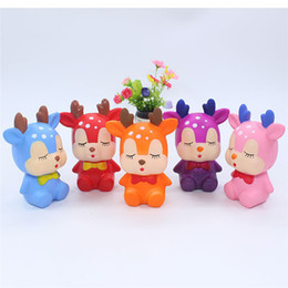 $enCountryForm.capitalKeyWord Australia - Kawaii 5 Colors Reindeer Squishy Christmas Deer Bear Slow Rising Squeeze Decompress Toys Phone Charms Kids Gift Party Supply 30pcs
