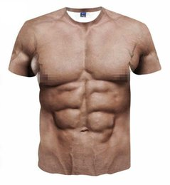 dafb1591 Men Funny Muscle Tee Shirt 3D Art Printed Short Sleeves Muscle T-Shirt  Casual Summer Tees for Men Size (S-3XL)