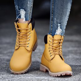 Vintage Martin Boots Australia - New Arrival Lovers Martin Boots Lace-up Yellow Ankle Boots Fashion Vintage Hard-wearing Motorcycle Boots Botas Hombre Size 35-44