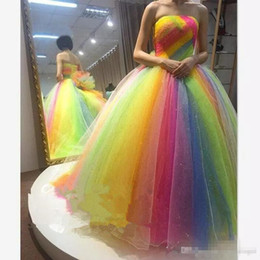 ElEgant two piEcE jackEt drEssEs online shopping - Elegant Colorful Rainbow Prom Dresses ball gown Strapless Floor Length lace up corset plus size Long formal evening party Prom Gowns