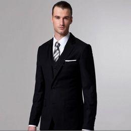 $enCountryForm.capitalKeyWord NZ - Latest Black Wedding Tuxedos 2019 Side Slit Black Two Buttons Notch Lapel Men Wedding Suits Bridegroom (Jacket+Pants+Tie+Vest)J2