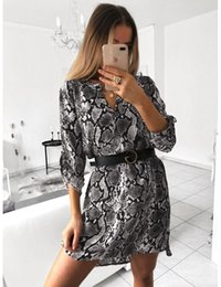 $enCountryForm.capitalKeyWord Australia - Womens Casual Dress Spotted Stripes 2019 New Women Fashion V-neck Long Sleeved Snake Print Shirt Dress Without Belt Size S-XL