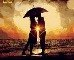 Lovers Rain Painting Australia - 40x50cm Decor Hand-painted Avatar Printed Pattern Coloring by Number Rain Lover