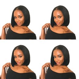 $enCountryForm.capitalKeyWord NZ - Short Brazilian Hair Wigs For Black Women Natural Color Silk Straight Human Hair Wigs Bob Style Glueless Full Lace Wig With Baby Hair
