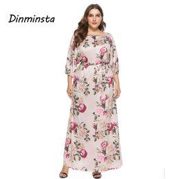Dinminsta Women New Autumn L-XXXL Plus Size Dresses Female High Waist O  Neck Half Sleeve Loose Dress Big Size Lady Frock Design 6836e955e
