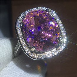 Gold Pink Rings For Women Australia - Trendy Jewelry Female Anniversary rings oval cut 10ct Pink 5A Zircon Cz White Gold Filled wedding band ring for women Bridal Free Shipping