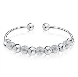 $enCountryForm.capitalKeyWord Australia - New Cheap Fine Jewelry White Gold Plating Wedding Jewelry 925 sterling silver bracelet Bangles Silver Beads Bangle 10pcs Free Shipping