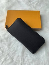 Box clutches online shopping - colors famous brand fashion single zipper luxury designer men women leather wallet lady ladies long purse with orange box