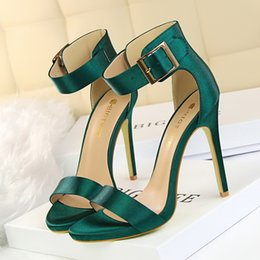 Fetish Open Dress Australia - Dress Women Newest Classic Satin 11cm High Heels Fetish Quality Silk Sandals Female Gladiator Summer Cheap Shoes Lady Green Sexy Pumps