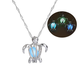turtle charm green Australia - Silver Color Luminous Necklaces Hollow Tortoise Turtle Locket Necklace Valentine's day Antique Luminous Beads Censer Jewelry Cage Gift