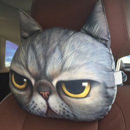 Wholesale cat face print online – design 2020 New D Printed Cat face Car Headrest Neck Rest Neck Cushion With Activated carbon