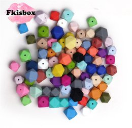 hexagon beads NZ - 50Pcs Food Silicone Beads Hexagon 17mm Diy Baby Chew Necklace Bpa Free Nursing Jewelry Silicona Bead Teething Infant ToysMX190910