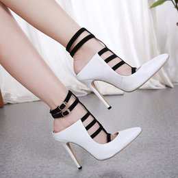 $enCountryForm.capitalKeyWord Australia - Hot Sale-Sexy black white T strappy pointed toe high heels pumps office lady work shoes 12cm size 35 to 40
