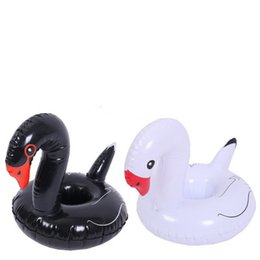 Wholesale swan black for sale - Group buy Inflatable Swan Drink Cup Holder Black and White Colours to Choose Water Fun Toys Floating Beverage Holder Summer Pool Party Enjoy happy
