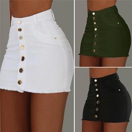 Womens sexy dell'anca del pacchetto dei jeans gonne delle signore di modo colore puro Gonne estate femminile gonne corte con Button in Offerta