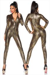 wet look bodysuit 2019 - Jumpsuit Latex Catsuit Nightclub Costumes Bodysuit Fetish Sexy Linegerie Leather Game Uniforms Black Wet Look Snake disc
