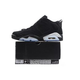 chrome shoes 2019 - Chrome 6 Low Mens Basketball Shoes 6s Black Metallic Silver White 304401 003 Athletics Sports Sneakers size 7-13 with BO