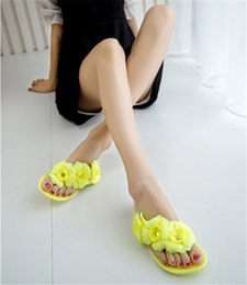 $enCountryForm.capitalKeyWord Australia - Women Summer Slippers Candy Color Female Fashion Flip Flop Flats Shoes With Beautiful Camellia Flower Sweet Beach