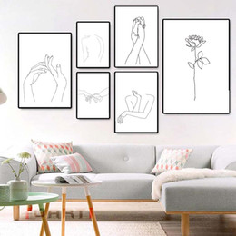 AbstrAct lines Art online shopping - Modern Canvas Painting Wall Art Prints Poster Bedroom Decor Modular Wall Picture Abstract Women Body Hand Line Drawing Art Mural