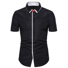 mens black shirt white collar NZ - 2020 Summer Black Short Sleeve Shirt Men Fashion Casual Button Print Solid Color Mens Shirt Regular Fit Clothes Camisa Masculina