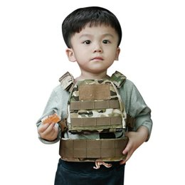 Discount tactical vest green - 2-6 Year Children Tactical Vest Set 1000D Nylon Buckled Strap Protective Clothing Tops Waist Belt Sportswear Accessories