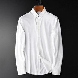 plus size spandex shirt Australia - Cotton Spandex Men shirt Camisa Masculina Long Sleeve White Mens Dress Shirt Plus Size 4xl Slim Fit Casual Men