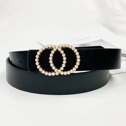 chain belts for dresses UK - Inlaid Pearl Belts for Women waist Luxury Simple High Quality PU letaher Belt jeans Belts for Dress studded buckle girls 2020