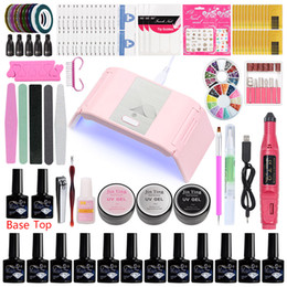 uv coating liquid UK - Manicure Set Kit Profesional Acrylic Nail Kit with Uv Lamp Gel Nail Polish Base Top Coat Liquid PolyGel for Tool