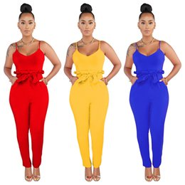 $enCountryForm.capitalKeyWord Australia - 2019 Sexy Ladies Women Playsuit Bodysuit Party Jumpsuit Romper Clubwear Red backless Lace Up Long Jumpsuit