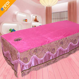 table cloth sizing 2019 - Massage Table Cloth Bed Cover Sheet Beauty Salon Spa Bed Cover Sheet with Face Hole Pure Color Big And Small Size discou