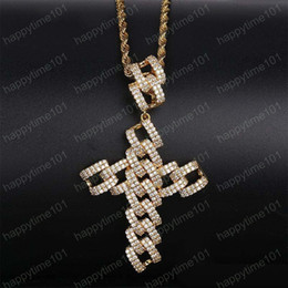 rose gold cross necklace men Australia - High Qualtiy Yellow White Rose Gold Full CZ Cross Pendant Necklaces for Men Hip Hop Necklace With 24inch Rope Chain