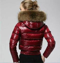 Fur collar jacket slim waist online shopping - Women Winter Jacket New Monclers Luxury Fur Collar Red Designer Down Jacket Zipper Tide Brand Epaulette Logo Waist Short Slim Winter Tops