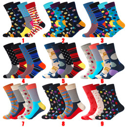 Colorful Cotton Socks Australia - 2019 Mens Cotton Colorful Happy Socks Gift Box Fruit Crazy Calcetines Hombre Invierno Funny Skate Socks Lionzone New Arrival 4PCS Lot