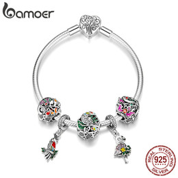 $enCountryForm.capitalKeyWord Australia - Trendy 925 Sterling Silver Tropical Animal Bird Flamingo Heart Clasp Charm Bracelets for Women Jewelry Anniversary birthday Gift