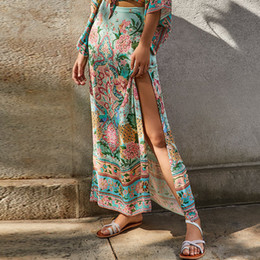 4da8ba5728 Boho maxi beach skirt women Rayon light green floral print sexy Side fork  Invisible zipper bohemian holiday Casual long skirts dresses
