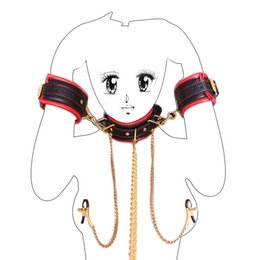 Chinese  Adult Sex Bondage Restraints Handcuffs With Neck Collar Fetish Sex Toys Wrist Cuffs Nipple Clamps For Woman Erotic Toys manufacturers
