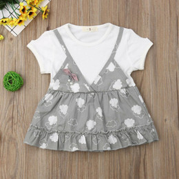 838d60edc4e 2019 New Arrival Summer Cute Cotton Simple Baby Girl Princess Party Short  Sleeve Printing Dress Leisure Tutu 6M-4y