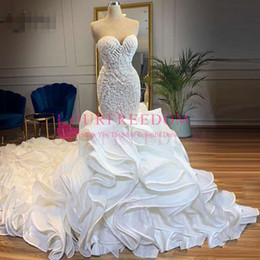 sparkling mermaid wedding dresses NZ - Gorgeous 2019 Sparkle Crystal Mermaid Wedding Dresses Lush Bottom Ruffles Bridal Gowns Sweetheart Lace Up Vestido De Noiva